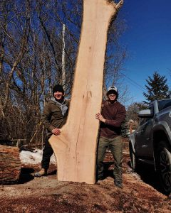 Dean and Joe pose with large red oak slab.